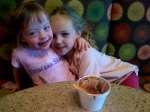 Sophie and Annabelle, out for ice cream.